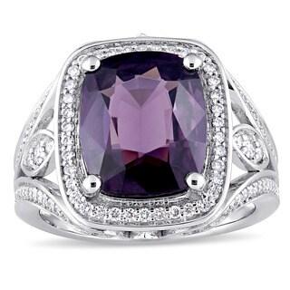 Miadora Signature Collection 14k White Gold Purple Spinel and 3/5ct TDW Diamond Halo Split Shank Sta