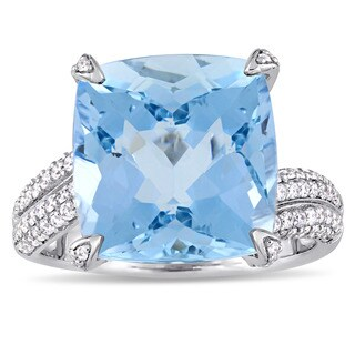 Miadora Signature Collection 14k White Gold Cushion-Cut Aquamarine and 5/8ct TDW Diamond Statement R