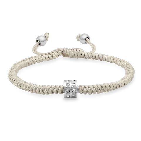 Drawstring Bracelet with CZ Bead