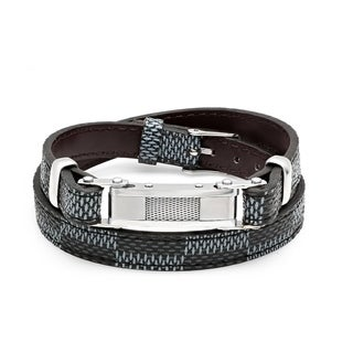 Men's Steeltime Black and Blue Leather Wrap Bracelet