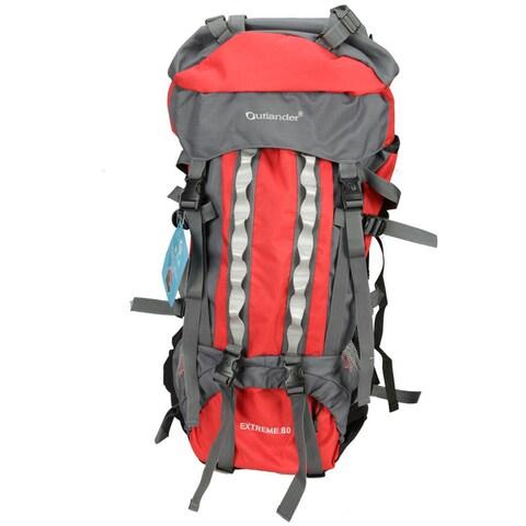 80L Outlander Professional Backpack Shoulders Bag Red and Grey