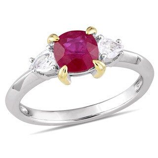 Miadora Signature Collection 14k White Gold Yellow Gold Prong Ruby White Sapphire 3-Stone Engagement Ring