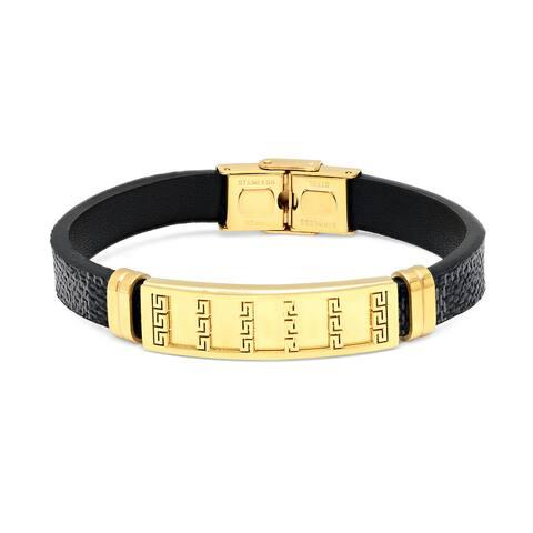 Steeltime Men's Black Leather Bracelet with Gold Tone Accent