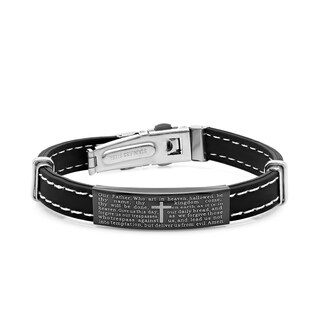 "Black Leather ""Our Father"" ID Bracelet"