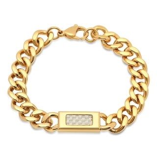 Gold Plated Carbon Fiber Link Bracelet