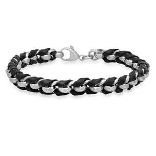 Stainless Steel and Leather Braided Bracelet