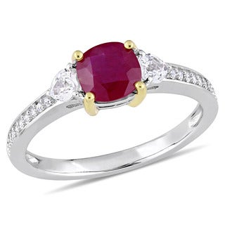 Miadora Signature Collection 14k White Gold Yellow Gold Prong Ruby White Sapphire and 1/10ct TDW Diamond Engagement Ring