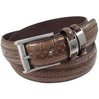 Stacy Adams 35mm Chocolate Tri-Leather Big and Tall Embossed, Croc, Lizard, Snake Belt