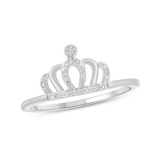 1/20 Carat Diamond Accent Crown Shape Fashion Ring In 10K White Gold.