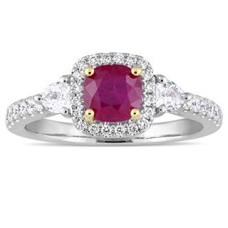 Miadora Signature Collection 14k White Gold Yellow Gold Prongs Ruby White Sapphire and 1/3ct TDW Diamond Engagement Ring