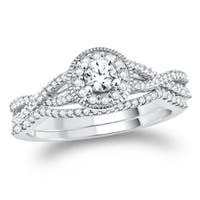 1/2 Carat Round Diamonds Cluster Bridal Ring  With Miligrain In 10K White Gold.