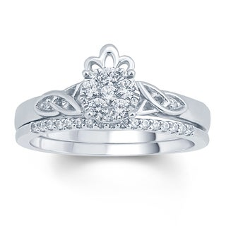 1/3 Carat Round Daimonds Celtic Claddagh Design Bridal Ring In 10K White Gold.