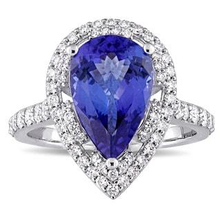 Miadora Signature Collection 14k White Gold Pear-Cut Tanzanite 3/4ct TDW Diamond Double Teardrop Halo Engagement Ring