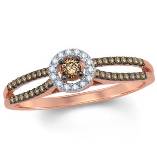 1/3 Carat White & Champagne Diamond Composite Engagement Ring In 10K Rose Gold.