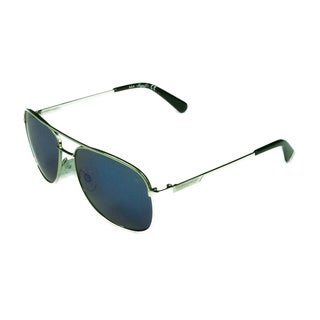 Kenneth Cole Aviator KC7153 10C Unisex Shiny Light Nickeltin Frame Mirrored Smoke Lens Sunglasses