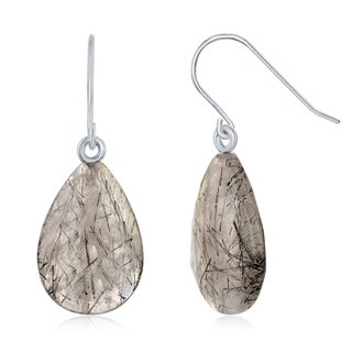 La Preciosa Sterling Silver Natural Stone Black Rutilated Dangling Earrings