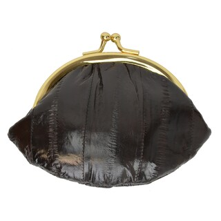 Women Embossed Eel Skin Leather Small Coin Purse