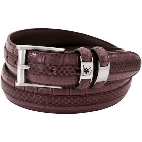 Stacy Adams 35mm Burgundy Tri-Leather Embossed, Croc, Lizard, Snake Belt