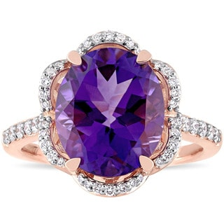 Miadora Signature Collection 14k Rose Gold Oval-Cut African-Amethyst and 1/2ct TDW Diamond Floral Halo Engagement Ring