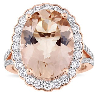 Miadora Signature Collection 14k Rose Gold Morganite and 1 1/4ct TDW Diamond Beaded Halo Statement Ring
