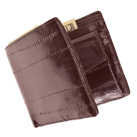 Embossed Eel Leather Bifold Credit Card Wallet with Coin Pouch