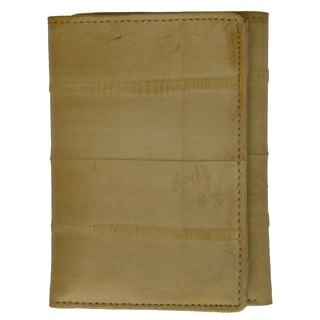 Embossed Eel Leather Trifold Wallet With ID Window