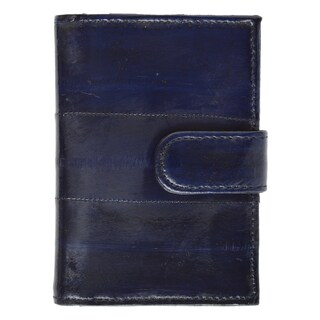 Genuine Embossed Eel Leather Credit Card Case with Snap Closure