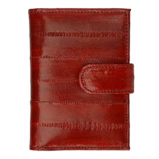Genuine Embossed Eel Leather Credit Card Case with Snap Closure|https://ak1.ostkcdn.com/images/products/16490133/P22829654.jpg?impolicy=medium