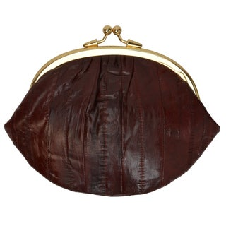 Embossed Eel Leather Large Double Coin Purse Change Wallet