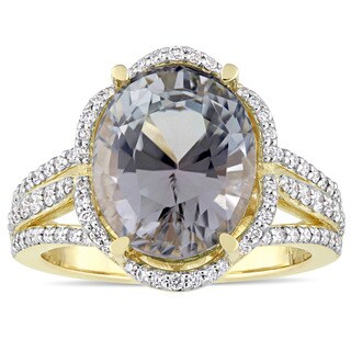 Miadora Signature Collection 14k Yellow Gold Grey Tourmaline and 5/8ct TDW Diamond Halo Split Shank Engagement Ring