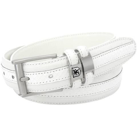 Stacy Adams 35mm White Tri-Leather Embossed, Croc, Lizard, Snake Belt