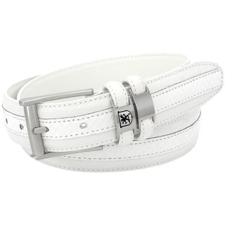 Stacy Adams 35mm White Tri-Leather Embossed, Croc, Lizard, Snake Belt
