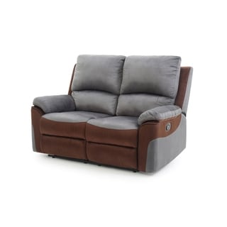 LYKE Home Contemporary Two Toned Micro Suede Reclining Love Seat