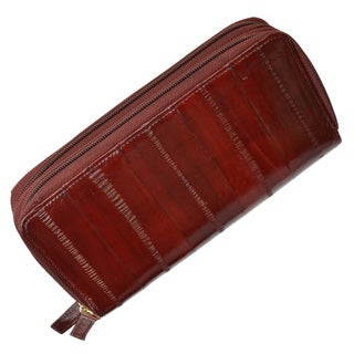 Embossed Faux Eel Leather Double Zippered Checkbook Cover Wallet
