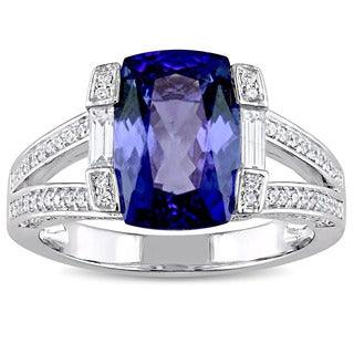Miadora Signature Collection 14k White Gold Cushion-Cut Tanzanite and 3/5ct TDW Diamond Split Shank Engagement Ring