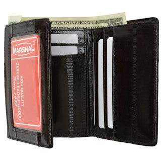 Embossed Eel Leather Trifold ID Style Credit Card Holder Wallet ID outside