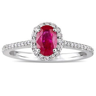 Miadora Signature Collection 14k White Gold Oval-Cut Ruby and 1/4ct TDW Diamond Halo Engagement Ring