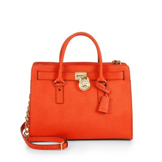 Michael Kors Hamilton East/West Orange Leather Satchel Handbag