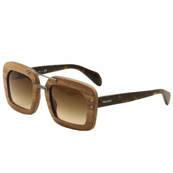 prada spr 30rs ubt0a7 womens dark wood frame havana lens sunglasses - Wood Framed Sunglasses