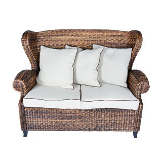 Handmade Boracay Brown Rolled Arm Wingback Loveseat (Philippines)