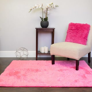 Sweet Home Collection Plush Faux Fur Area Rug (4 x 5 - Pink)