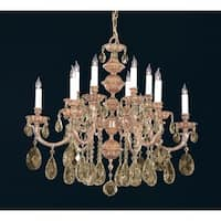 Crystorama Oxford Collection 12-light Olde Brass/Golden Teak Swarovski Element Crystal Chandelier