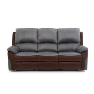 LYKE Home Contemporary Two Toned Micro Suede Reclining Sofa