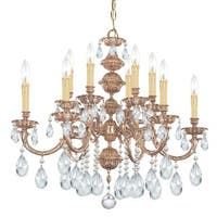Crystorama Oxford Collection 12-light Olde Brass/Crystal Chandelier