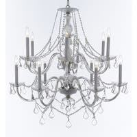 Weinstock 12-light Chrome Crystal Chandelier With French Pendelogue Crystal Trim