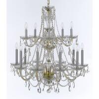 Weinstock 15-light French Pendelogue Crystal Trim Goldtone Crystal Chandelier