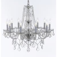 Weinstock 12-light Chrome and Crystal Chandelier With French Pendelogue Crystal Trim