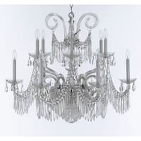 Weinstock Chrome Crystal 14-light Chandelier with French Pendelogue Crystal Trim