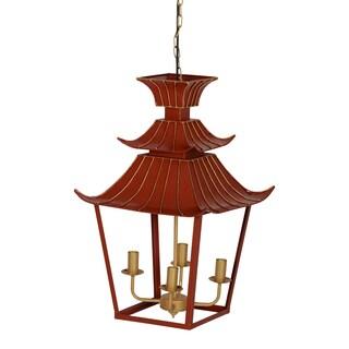 Orange 16- x 16- x 26.5-inch Pagoda Chandelier