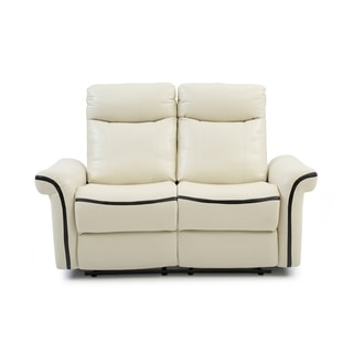 LYKE Home Contemporary White Faux Leather Reclining Sofa